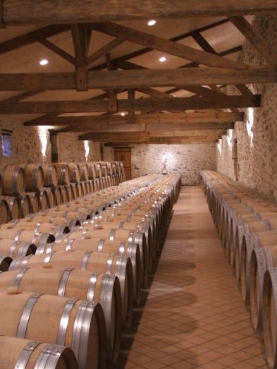 Barrel cellar at Ch. Respide